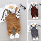 2PCS Toddler Kids Girl Boys Clothes Hooded Stripe Tops+Pants Overall Outfits
