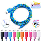 USB Mobile Phones Charger Cable Solid Braided Data Sync Fast Charging Cord New