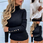 Fashion Women Sweater Knitted Button Round Neck Sexy Slim Casual Tops Pullover