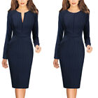 Womens Front Zipper Slim Wear to Work Business Office Party Bodycon Pencil Dress