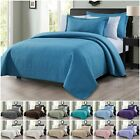Chezmoi Collection Edan 3-Piece Solid Modern Quilted Bedspread Coverlet Set image