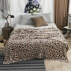 Plush Blankets Winter Flannel Bedspread Leopard Print Home Travel Throw Textiles