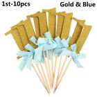 10pcs Baby Shower Wedding Cake Decors One Year Birthday Cupcake Toppers Party US