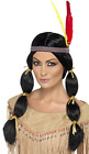 Native American Inspired Wig, Black, with Pigtails and Headband COST-ACC NEW