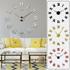 Wall Clock Watch Large Modern Simple Home DIY 3D Sticker Decal Roman Numeral