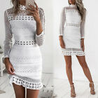 Women Elegant Long Sleeve Ruffle Lace Hollow Out Party Casual Dresses Clubwear
