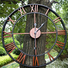 Large Outdoor Retro Style Garden Wall Clock Big Roman Numerals Giant Open Face