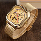 Self-Winding Men's Stainless Steel Steampunk Automatic Mechanical Square Watch image