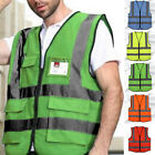 Hi-Vis Safety Vest With Zipper Reflective Jacket Security Waistcoat W/ Pocket