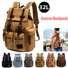 Men Women Large Canvas Travel Sport Bag Rucksack School Bookbag Laptop Backpack