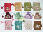 6/12/24/48PCS MIXED hand embroidered Satin Drawstring Wristlet Purses Coin bags