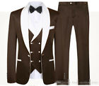 Men's Brown Suits White Shawl Lapel One Button Wedding Groom Business Dinner 3Pc