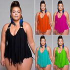 Plus Size Women Swimming Costume Fringe Tassel Monokini Swimsuit Swimwear Bikini
