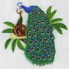 PEACOCK PAIR TOWELS BATHROOM HAND WASH KITCHEN EMBROIDERED BY LAURA