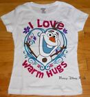 New Disney Frozen Olaf Snowman I Love Warm Hugs Girls Tee T-Shirt Top Size 4-6X