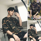 Men Women Baggy Fit Short Sleeve Tee Shirts Plus Size Round Neck Camouflage Tops