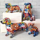 Graffiti Art Resin Figurine Dog Scupture Ornament Bulldog Statue Home Decoration