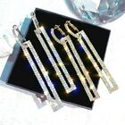 Very Sparkling Diamante Rhinestone Silver Or Gold Long Drop Bling Earrings *uk*