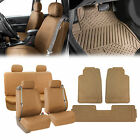 Integrated Seatbelt PU Leather Car Seat Covers w/Beige Floor Mats for Auto SUV $68.54 USD on eBay