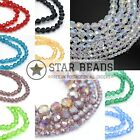 Faceted Round Glass Beads 4mm,6mm,8mm,10mm For Jewellery Making - Clear Ab