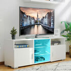 57'' TV Stand Unit Cabinet w/5 Shelves High Gloss with LED Light Home Furniture