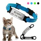 Nylon Safety Cat Breakaway Collar with Personlized slide On cat Name ID Tag