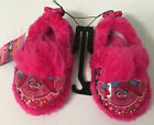Dreamworks Trolls Girls Slippers Plush House Shoes NWT sizes 5-6, 7-8, 9-10 Pink image