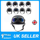 DOT Motorcycle German Style Leather Riding Half Face Helmet Biker Pilot Goggles