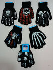 1 Pair Knit Gloves Childrens Kids Boys Skull Skeleton Flames Bones Winter Gloves