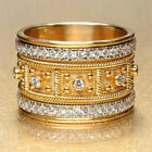 Gorgeous Women Wedding Ring 18k Yellow Gold Plated White Sapphire Size 6-10 image