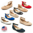 Us Women Ankle Strap Buckle Flats Mary Jane Round Toe Low Wedge Heel Flat Shoes
