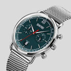 SKMEI Men's Stainless Steel Mesh Band Dual Dial Seconds Analog Date Quartz Watch image