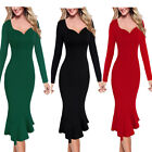 Women Elegant Vintage Evening Cocktail Party Bodycon Fitted Mermaid Midi Dress