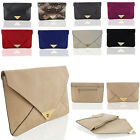 Womens Clutch Evening Faux Leather Ladies Envelope Wedding Party Prom Bag UK