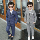 4Pcs Kids Boys Gentleman Suit Coat Shirt Tie Pants Party Formal Clothes Set
