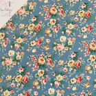 Rose and Hubble Copen Blue Bunch of Peonies Floral Fabric Vintage Floral 100% Co