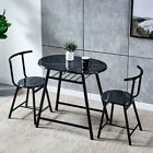 3 Pcs Dining Table & Chairs Set Breakfast Bar Table Workstation for Small Space