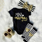4Pcs Newborn Infant Baby Girl Outfits Clothes Romper Jumpsuit Bodysuit+Pants Set