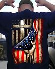 God Jesus Christ Proud USA Flag Cross Behind American Flag Men Black Shirt S-5XL image