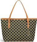 MICOM Casual Signature Printing Pu Leather Tote Shoulder Handbag with Metal Deco