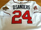 Brand New Atlanta Braves #24 Deion Sanders Throwback TWO patch sewn WHITE Jersey