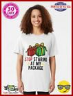 Funny Christmas T Shirt Stop Staring At My Package Slim Fit T Shirt 35184189
