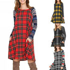 Women Fashion Plaid Mini Dress Long Sleeve Round Neck Dress with Pockets Summer