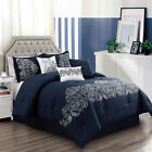 Chezmoi Collection Linz 7-Piece Paisley Floral Scroll Embroidered Comforter Set image
