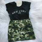Girl Clothes Set Top T-shirt Toddler Kids Camouflage Skirt Casual Baby Outfit