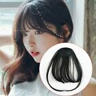 Thin Neat Air Bangs Remy Hair Extensions Clip in on Fringe Front Hairpiece
