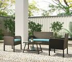 Garden Patio Furniture Set Outdoor Rattan Sofa Chair Table Small Family Party Us