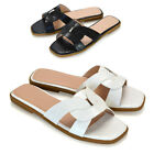 Womens Slip On Cut Out Sliders Ladies Flat Slip On Beach Sandals Shoes Size 3-8
