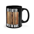 Blues Vinyl Record Collection Coffee Mug Black 11oz Life Is Better With The Blue