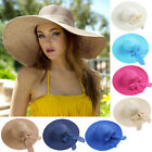Women Summer Beach Large Floppy Sun Straw Hat Wide Brim Foldable Cap w/ Bowknot